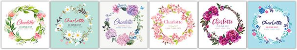 Baby Birth Canvas Prints Floral Wreath Range
