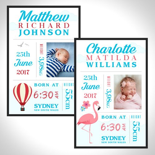 Baby Birth Canvas Print Hot Air Balloon & Flamingo